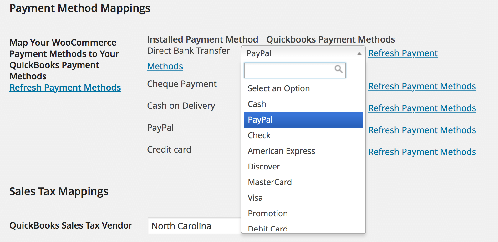 QuickBooks Plugin Payment Gateway Mapping
