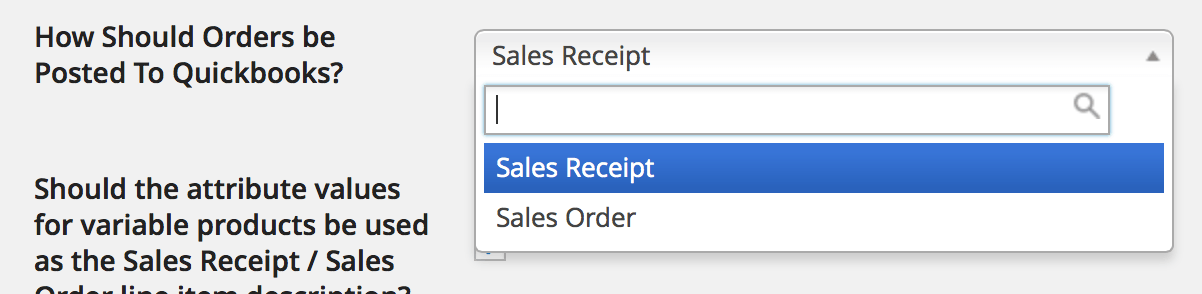 Sales Order/Receipt Selection