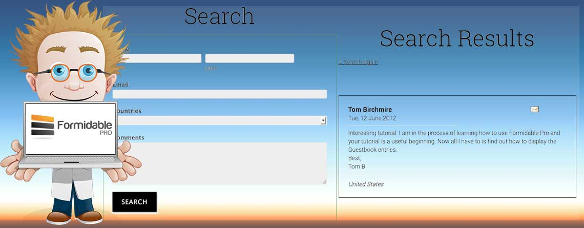 Search and Display Results with Formidable Pro