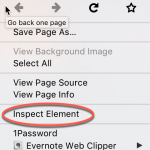 Image: Right click in browser, click on Inspect Element