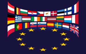 European Union flags and stars, public domain image from pixabay.com