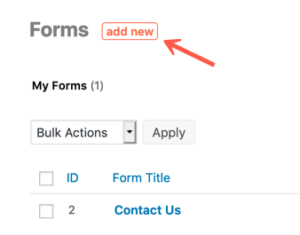 Formidable Forms add new form button