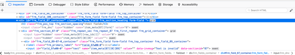 Formidable Form source code as displayed in browser